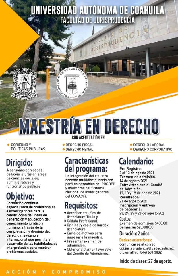 Ofrece Facultad de Jurisprudencia Maestría en Derecho con Cinco Acentuaciones
