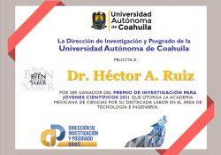 Reconoce Academia Mexicana de Ciencias a Investigador de la UAdeC con el Premio de Investigación para Científicos Jóvenes 2021