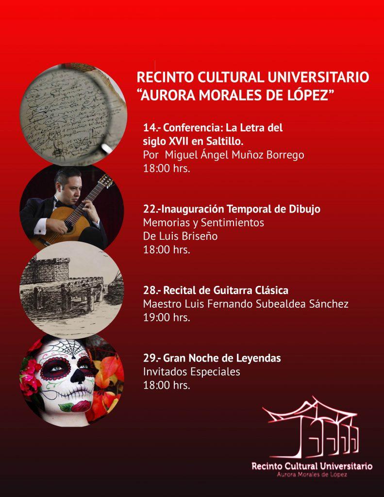 Invita UAdeC Durante Octubre a Disfrutar de sus Actividades Culturales