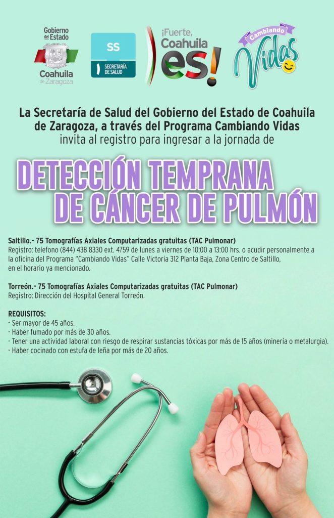 Invita Salud Coahuila a registro para detención temprana de cáncer de pulmón